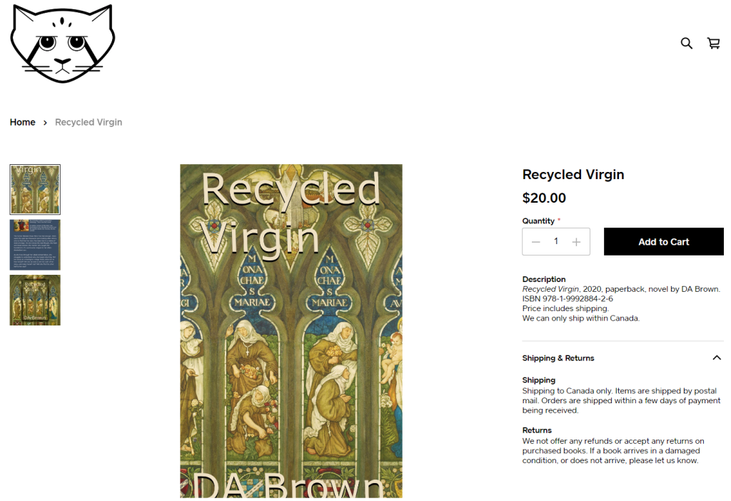 Screen image of the Square order page for Recycled Virgin, by DA Brown.